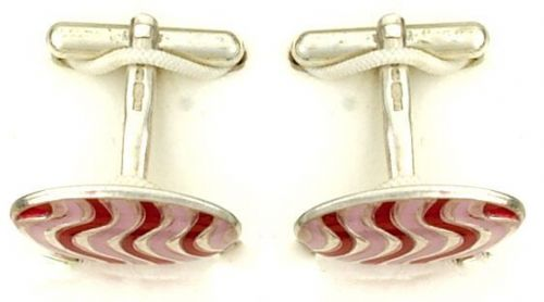 Red Striped Cufflinks Solid Sterling Silver Handmade